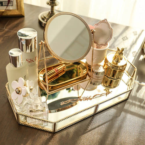 Dressing table storage cosmetics storage makeup storage mirror tray